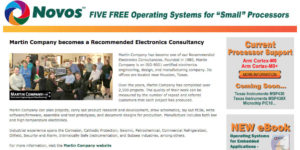 Martin Company supports Novos Embedded Programming Environments